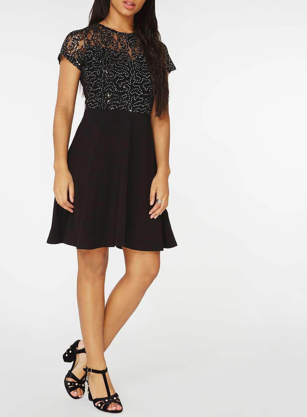 d8df9b5b Dorothy Perkins Black Sequin Lace Fit And Flare Dress in Black - Lyst