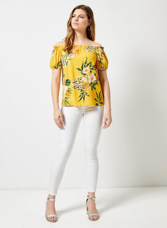 6b4debacc47622 Dorothy Perkins - Orange Yellow Floral Print Bardot Top - Lyst. View  fullscreen