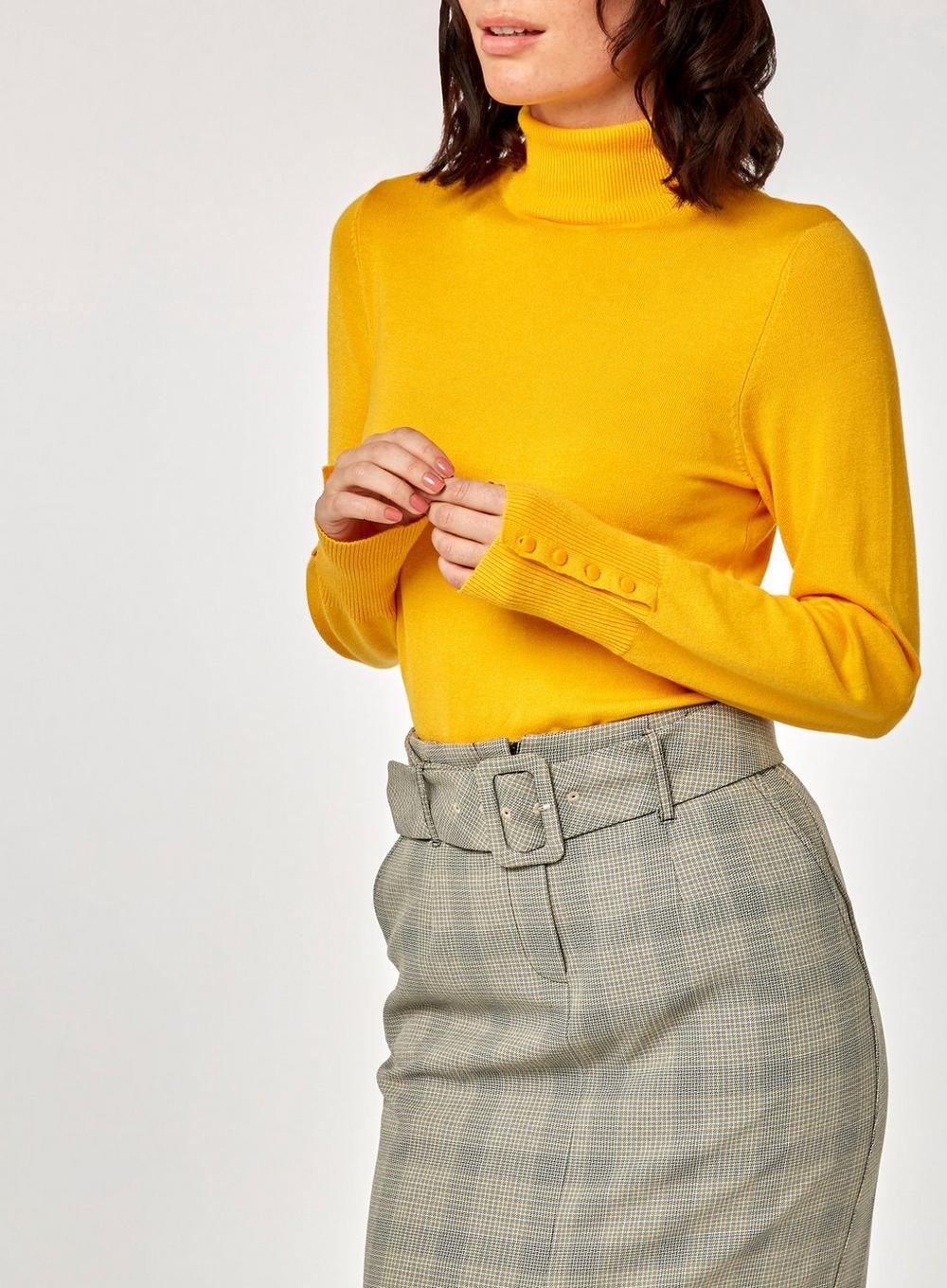 e41d6428d1 Lyst - Dorothy Perkins Bright Yellow Roll Neck Jumper in Yellow