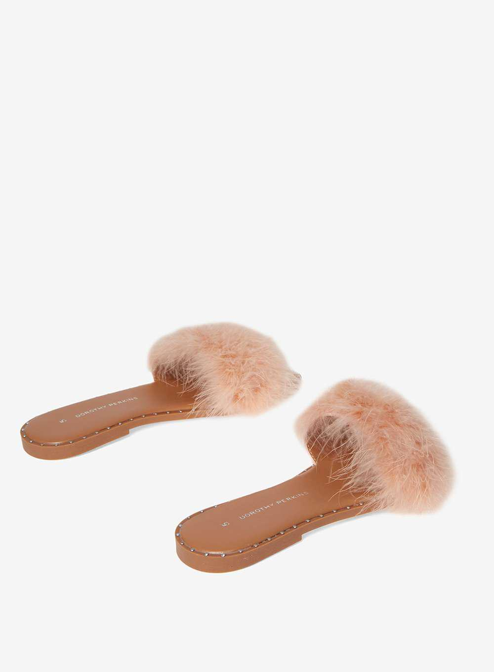 e2030b15d048 Lyst - Dorothy Perkins Nude Fluffy Mule Sandals