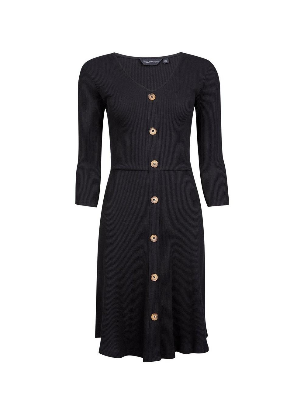 Lyst Dorothy Perkins Black Ribbed Fit And Flare Dress In