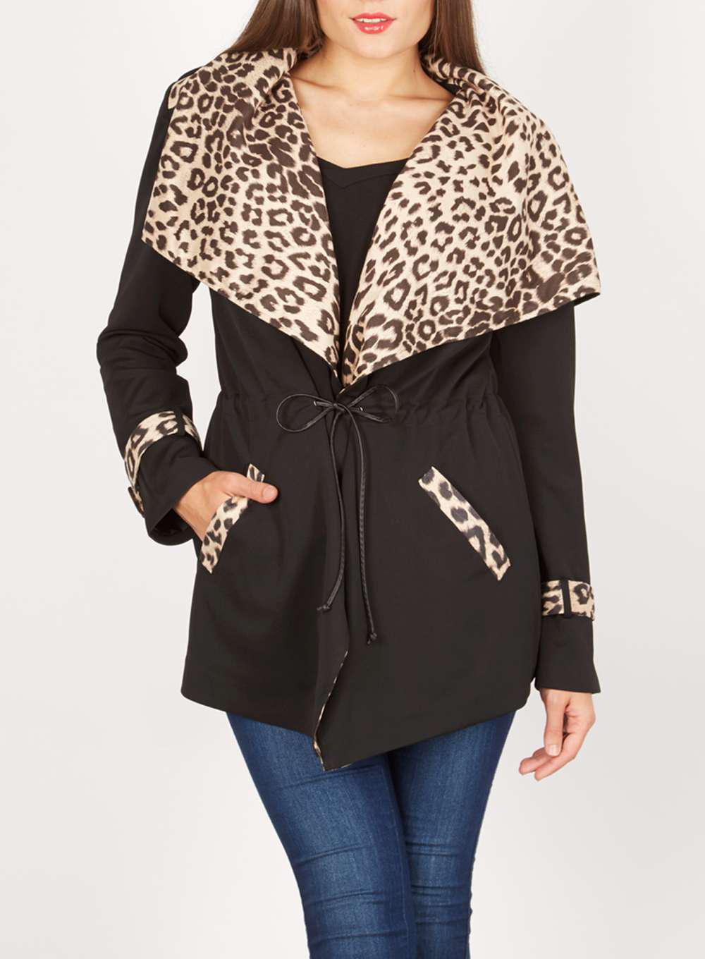 Dorothy perkins Izabel London Black Leopard Print Cardigan in ...