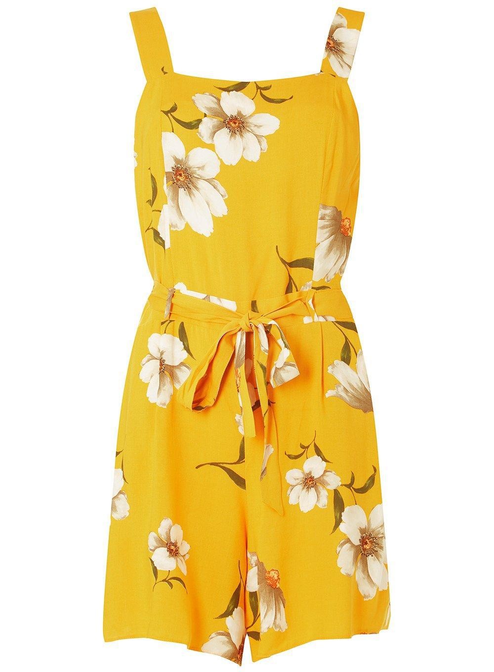 f5ee117976e Lyst - Dorothy Perkins Yellow Floral Square Neck Playsuit in Yellow