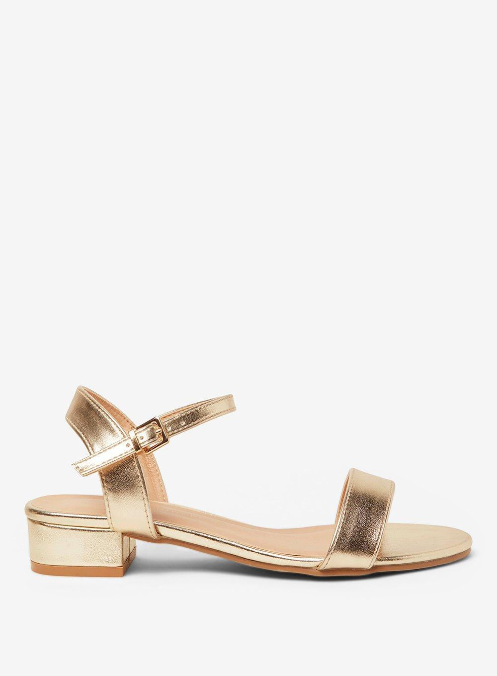 f777b0b85534be Lyst - Dorothy Perkins Wide Fit Gold Spirit Block Heel Sandals in ...