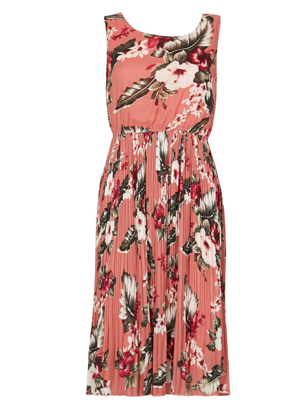 Lyst - Dorothy Perkins Tenki Coral Floral Midi Skater Dress in Pink 4a696dc2b