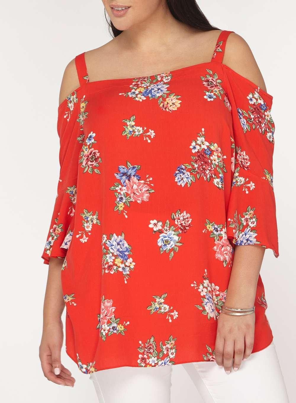 9bb1d66b87dd33 Lyst - Dorothy Perkins Dp Curve Red Floral Print Bardot Top in Red