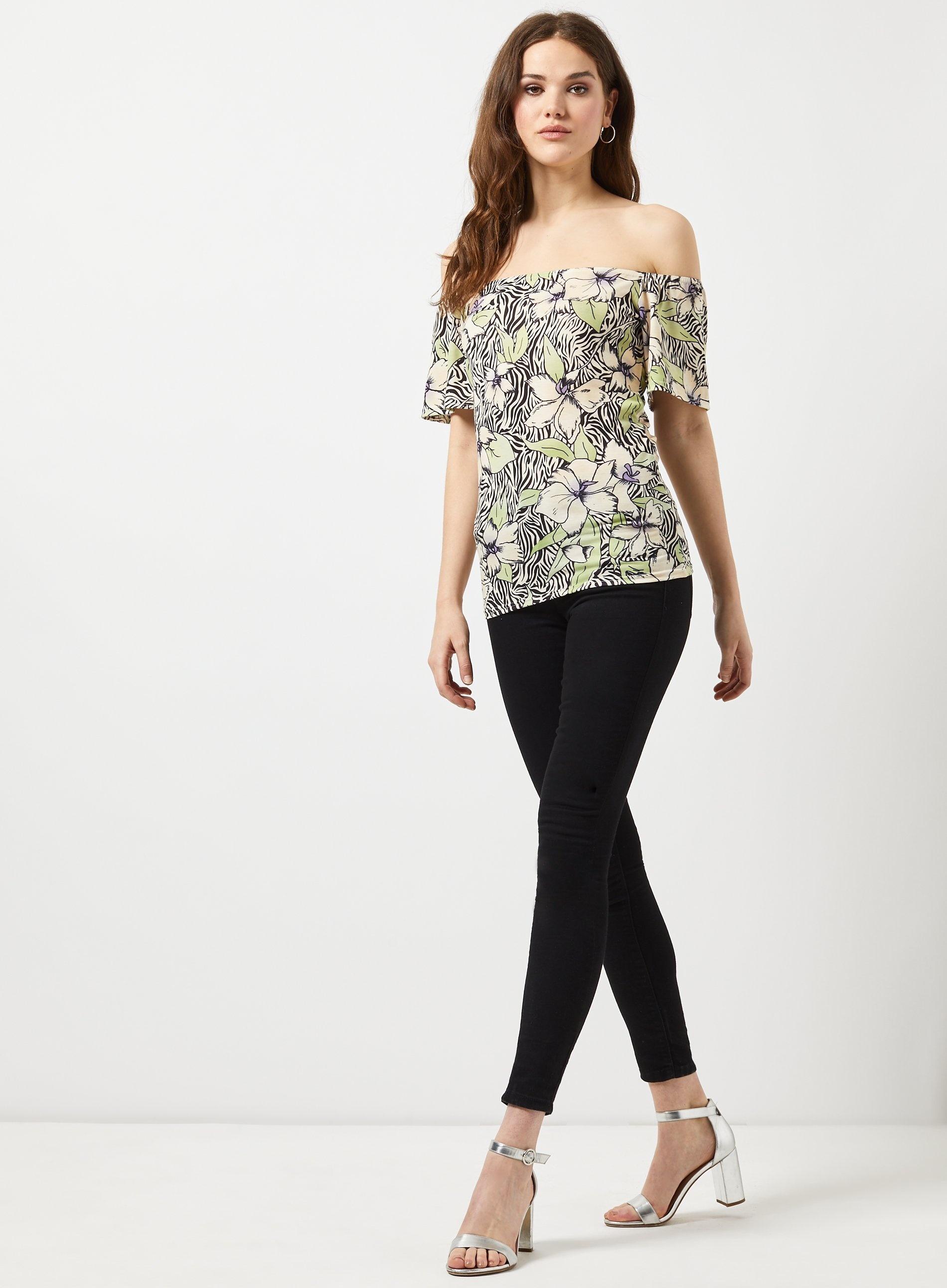 4ff5f3f931b Lyst - Dorothy Perkins Tall Multi Colour Zebra Print Bardot Top in Black
