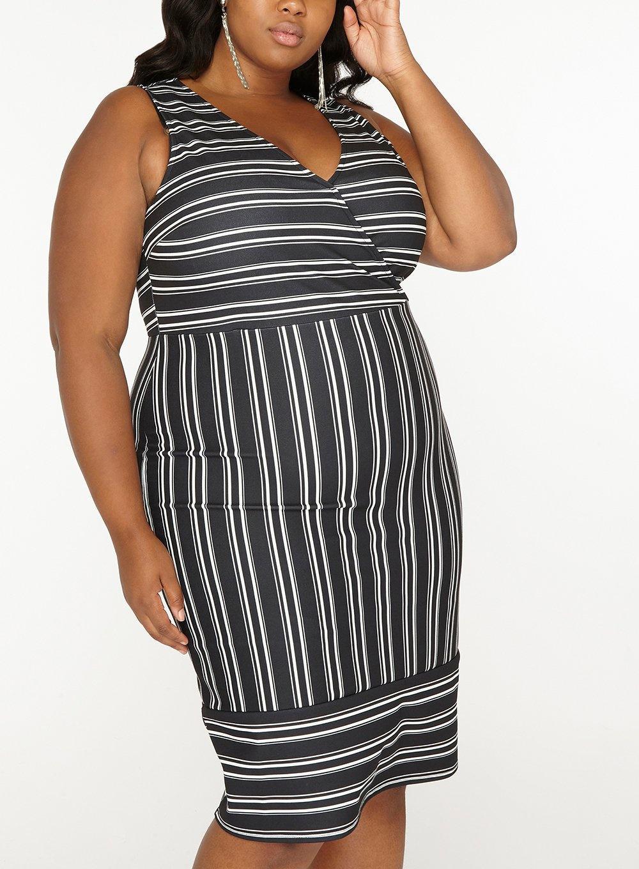 Lyst - Dorothy Perkins Dp Curve Black Stripe Print Bodycon Dress in ... 4fd41fc7c