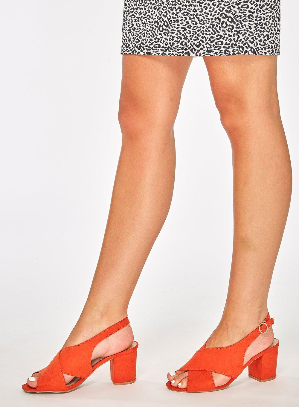 Lyst - Dorothy Perkins Wide Fit  simone  Heeled Sandals in Red 909581b637db