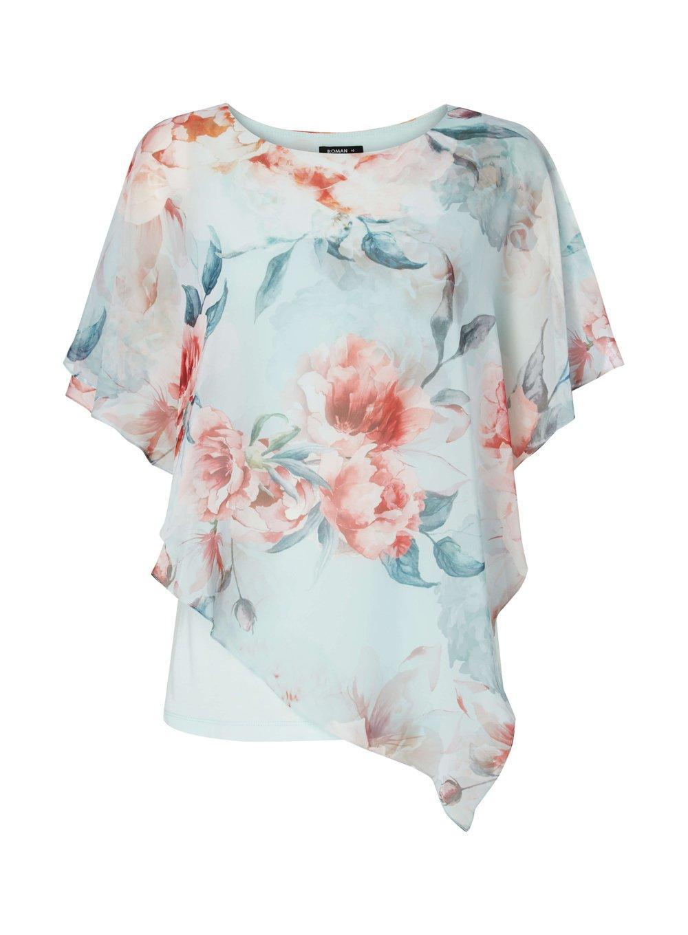 Visit New Cheap Online Free Shipping For Sale Dorothy Perkins Womens *Roman Originals Floral Print Asymmetric Top- Visa Payment Cheap Price Outlet 2018 Unisex BdpnZQDp