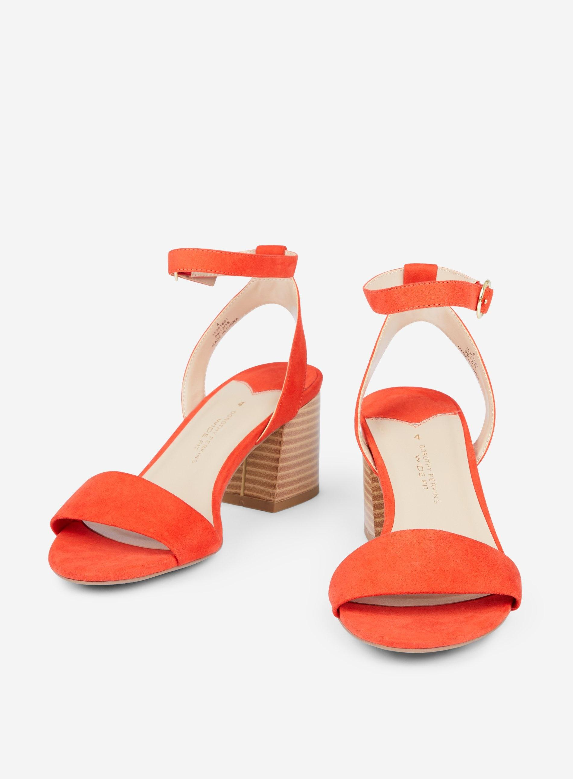 9cdf419681a Dorothy Perkins - Wide Fit Red Shady Block Heeled Sandals - Lyst. View  fullscreen