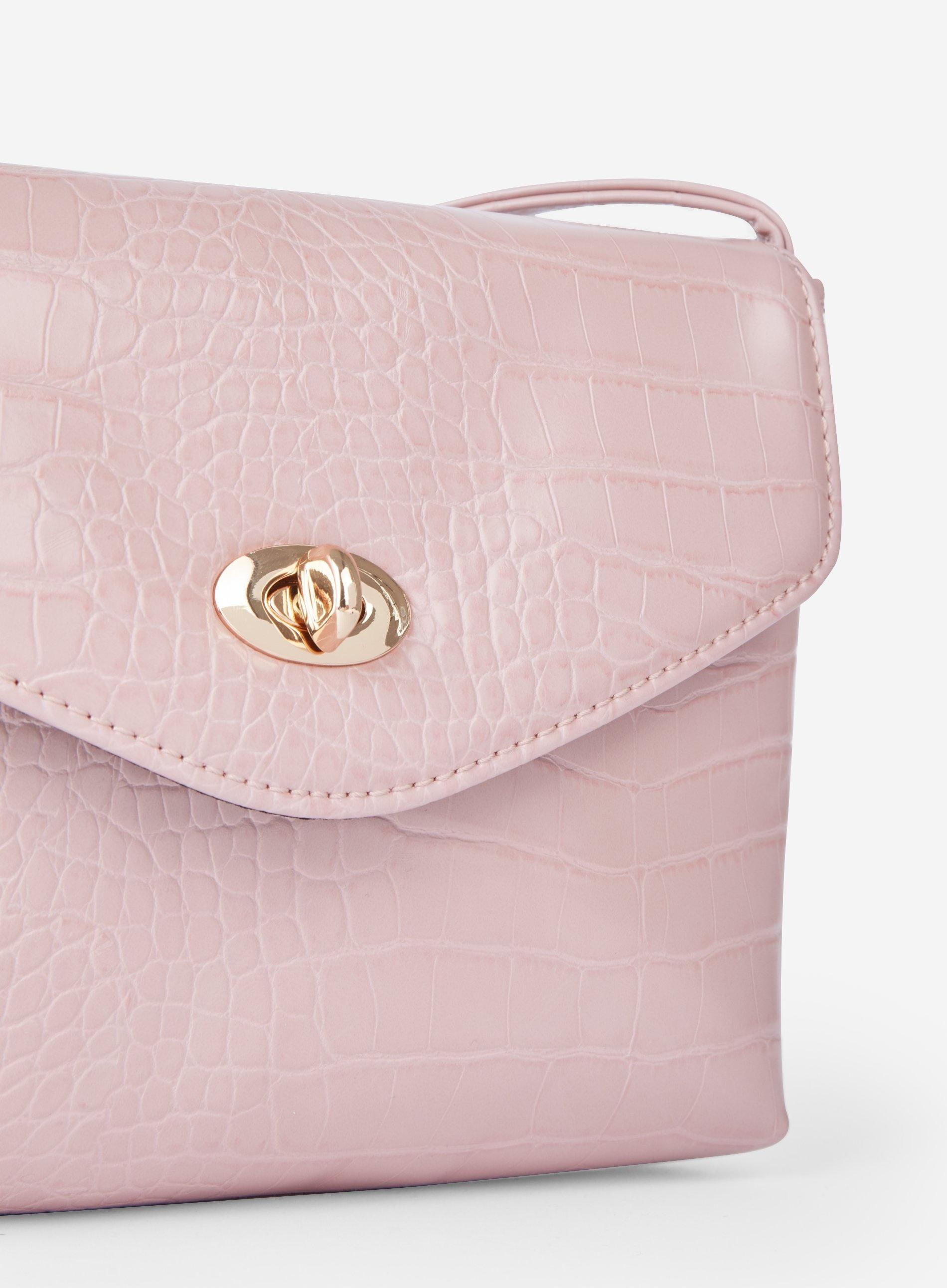 825c0cdfca1 Dorothy Perkins Blush Crocodile Design Twistlock Cross Body Bag in ...