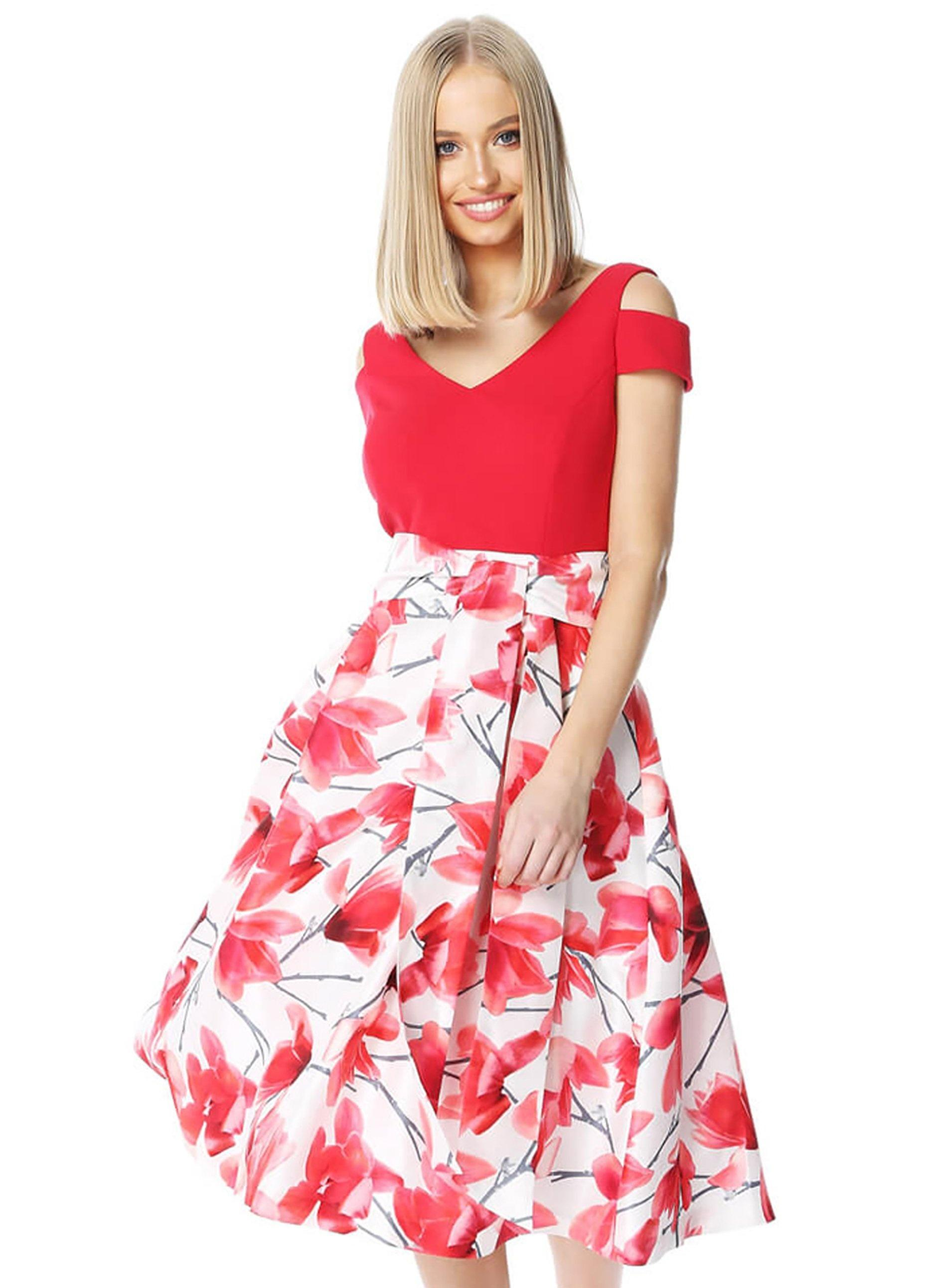 3afbbd41d407 ... Roman Originals Red Floral Print Fit And Flare Dress - Lyst. View  fullscreen