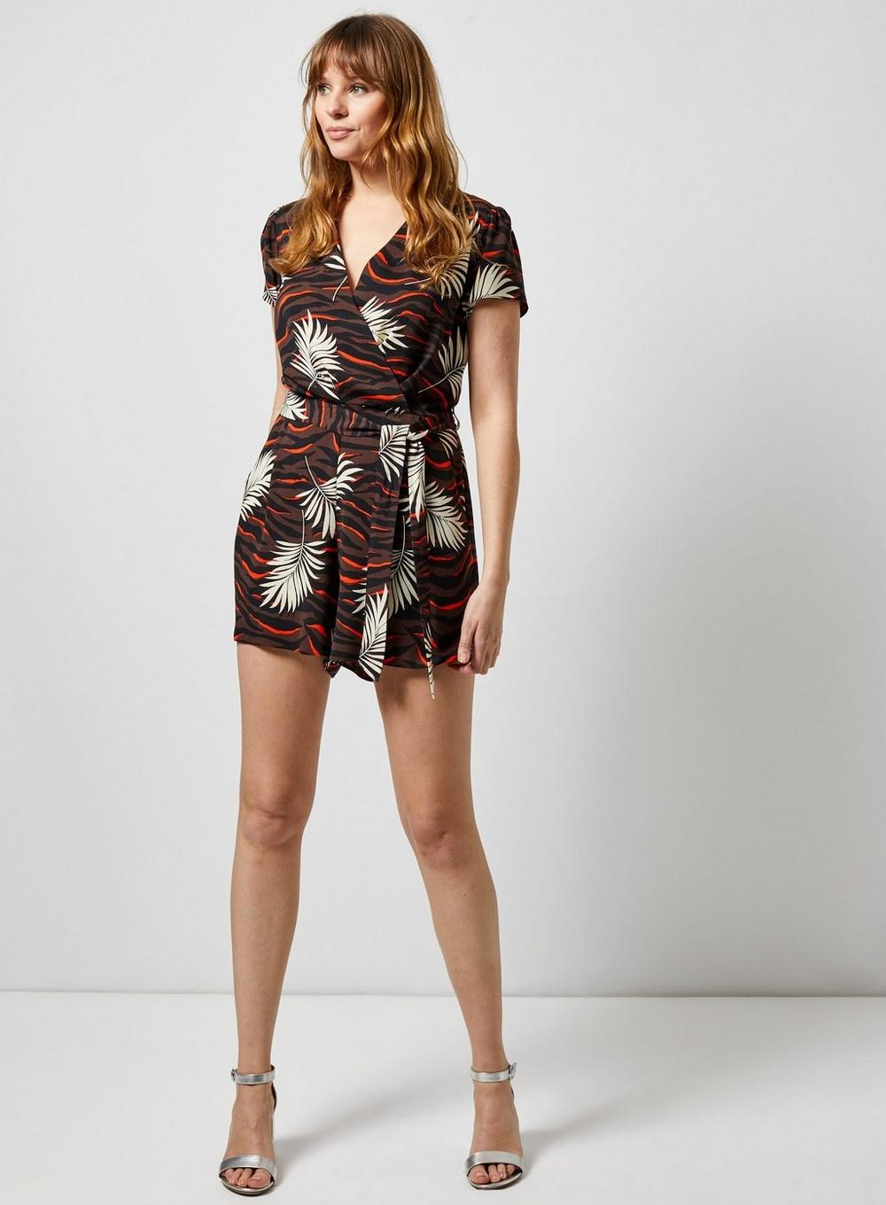 0df195cdc6ce Dorothy Perkins - Brown Chocolate And Orange Tiger Print Wrap Playsuit -  Lyst. View fullscreen