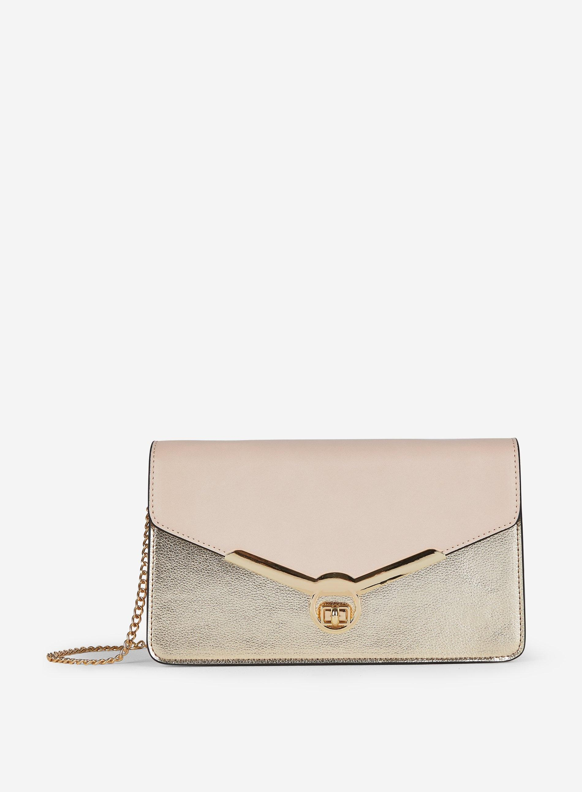 18c2a870383 Dorothy Perkins Gold Twistlock Clutch Bag in White - Lyst