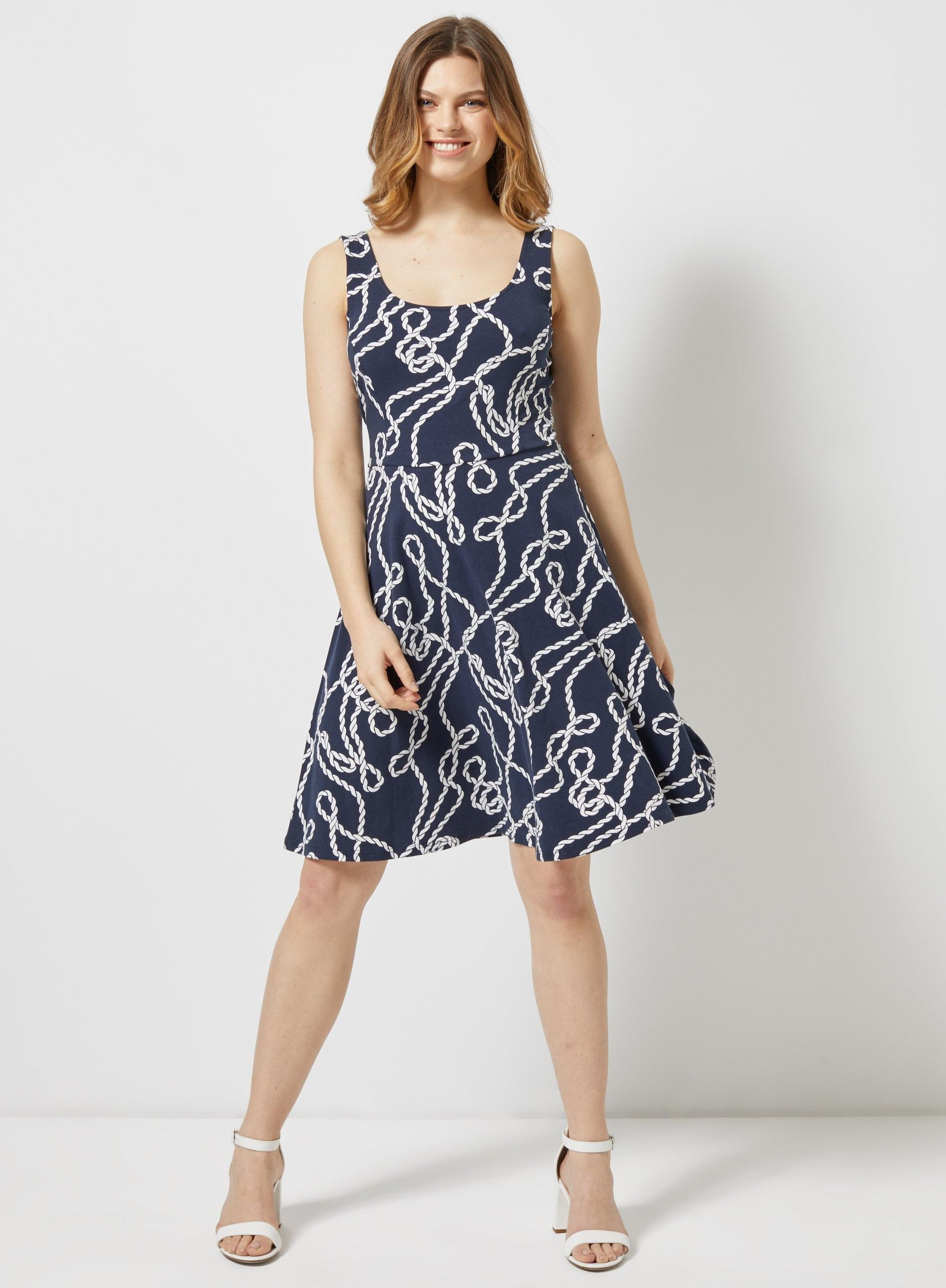 0ed9a71d02e Dorothy Perkins - Blue Navy And White Rope Seamed Fit And Flare Dress -  Lyst. View fullscreen