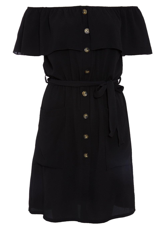 4113a12c2d4 Lyst - Dorothy Perkins Quiz Black Bardot Button Dress in Black