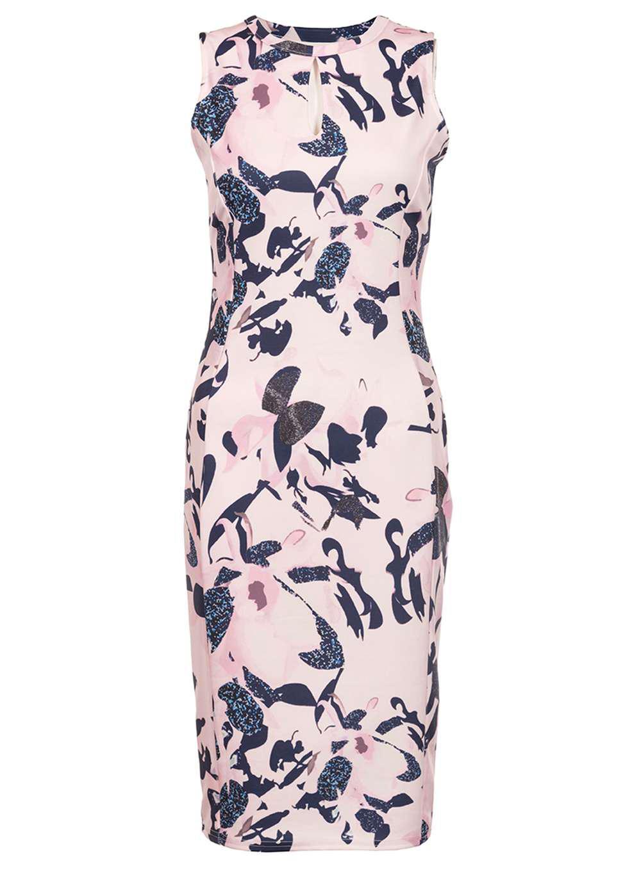 b06e48ad85f Dorothy Perkins Quiz Multi Coloured Floral Keyhole Dress - Lyst