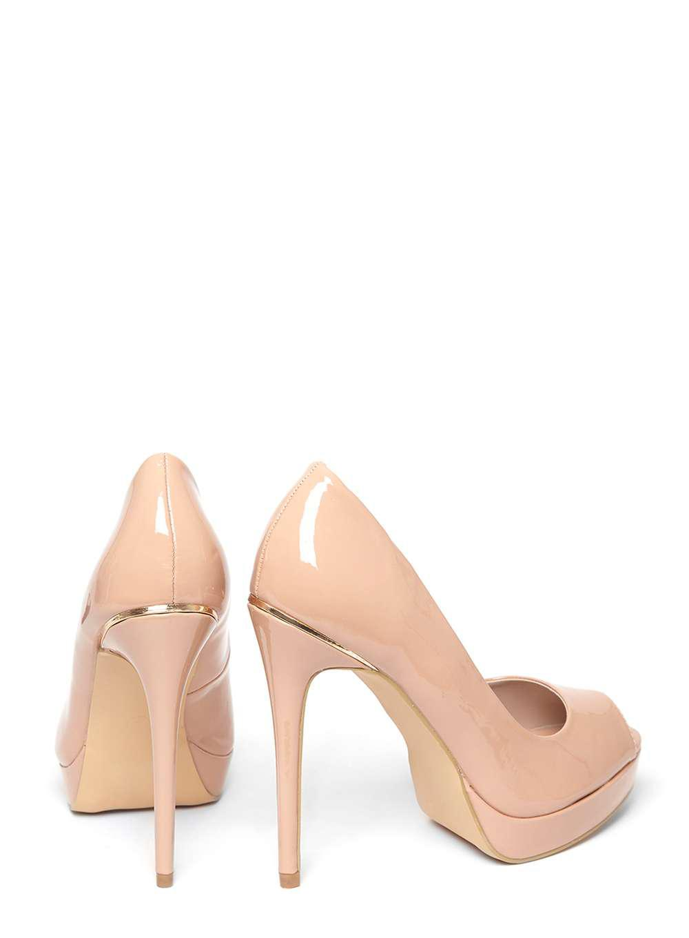972cb41a11 Dorothy Perkins Nude 'gift' Peep Toe Court Shoes in Natural - Lyst