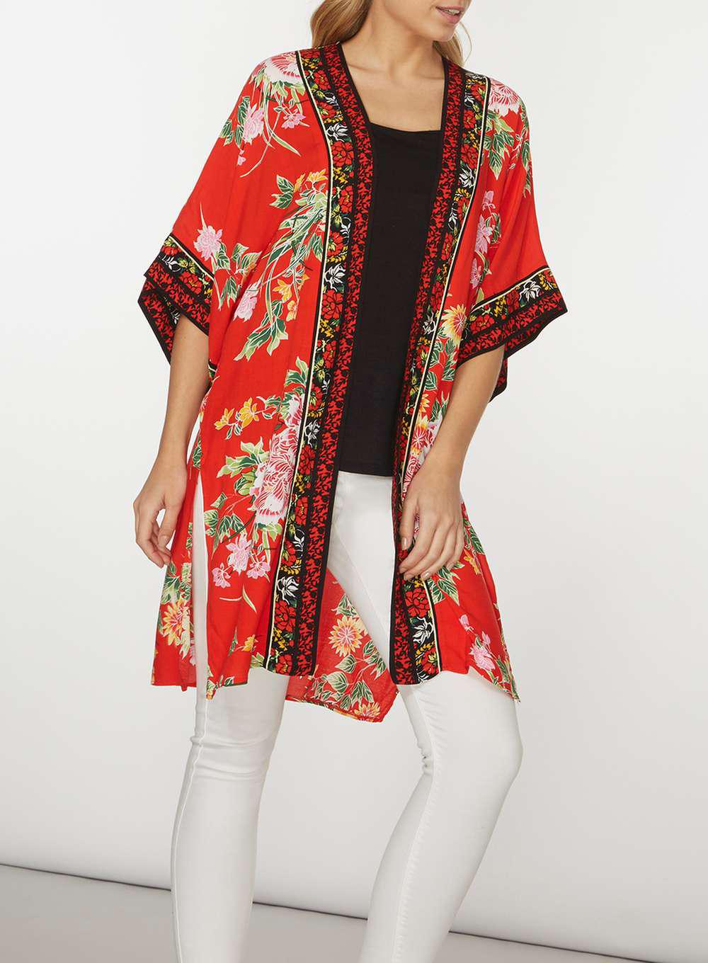 76a23041a Dorothy Perkins Red Oriental Floral Cover Up in Red - Lyst