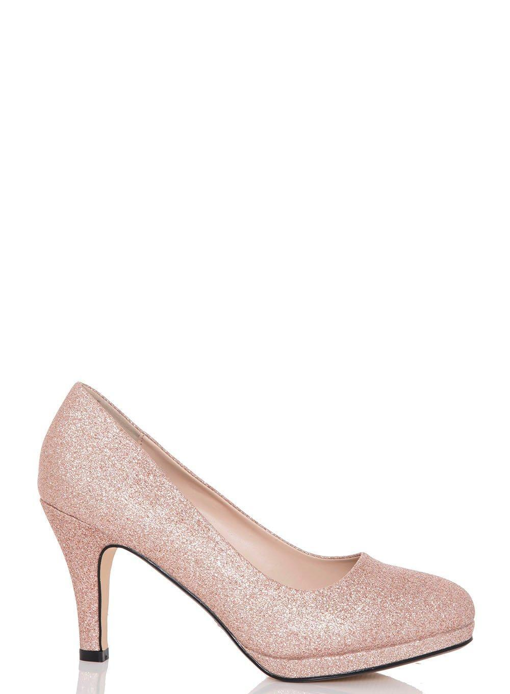 cc817a7e5 Lyst - Dorothy Perkins Quiz Rose Gold  rosie  Mid Heel Court Shoes ...