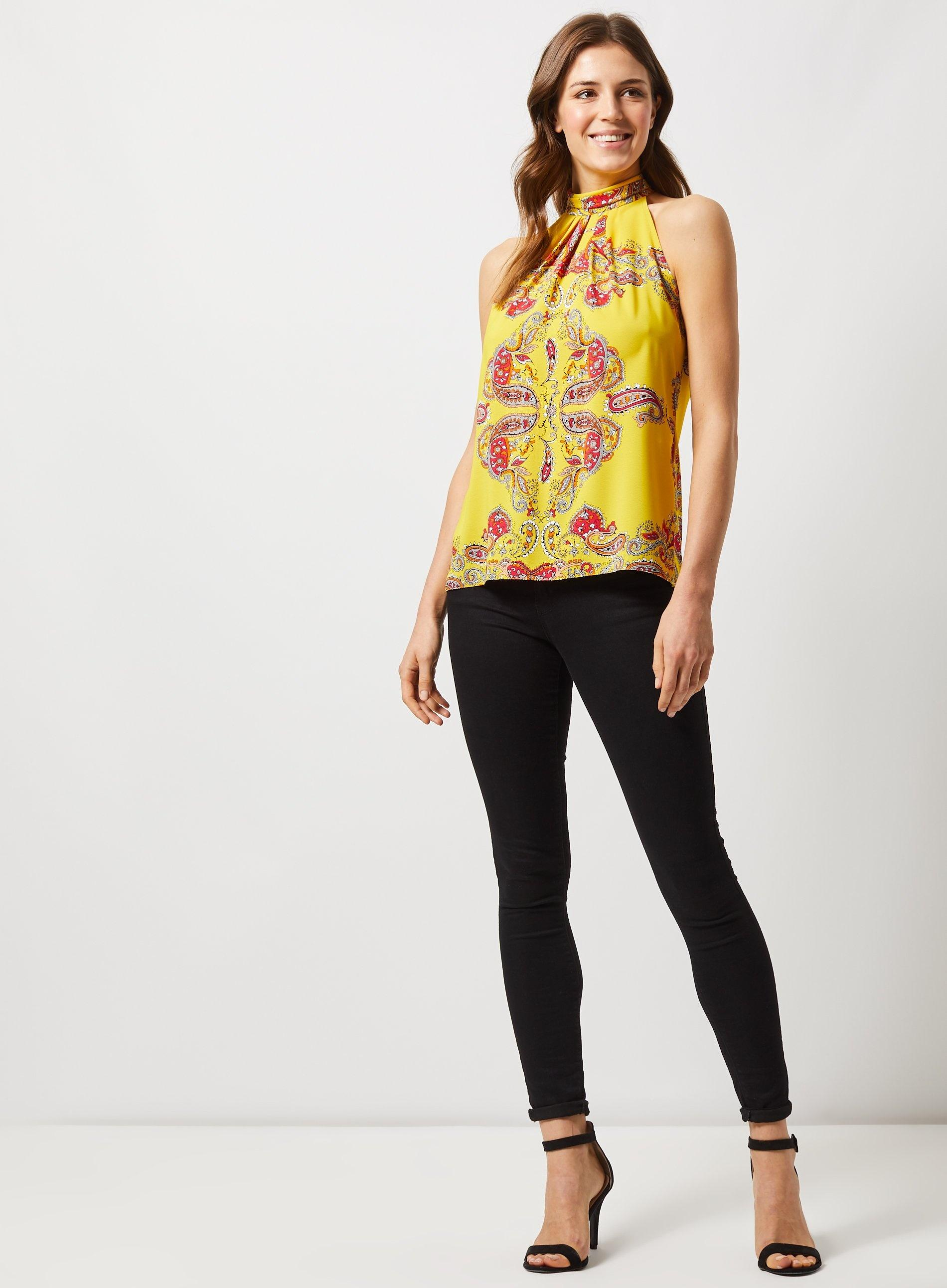 9c66969a807e4d Dorothy Perkins Yellow Paisley Print Halter Neck Top in Orange - Lyst