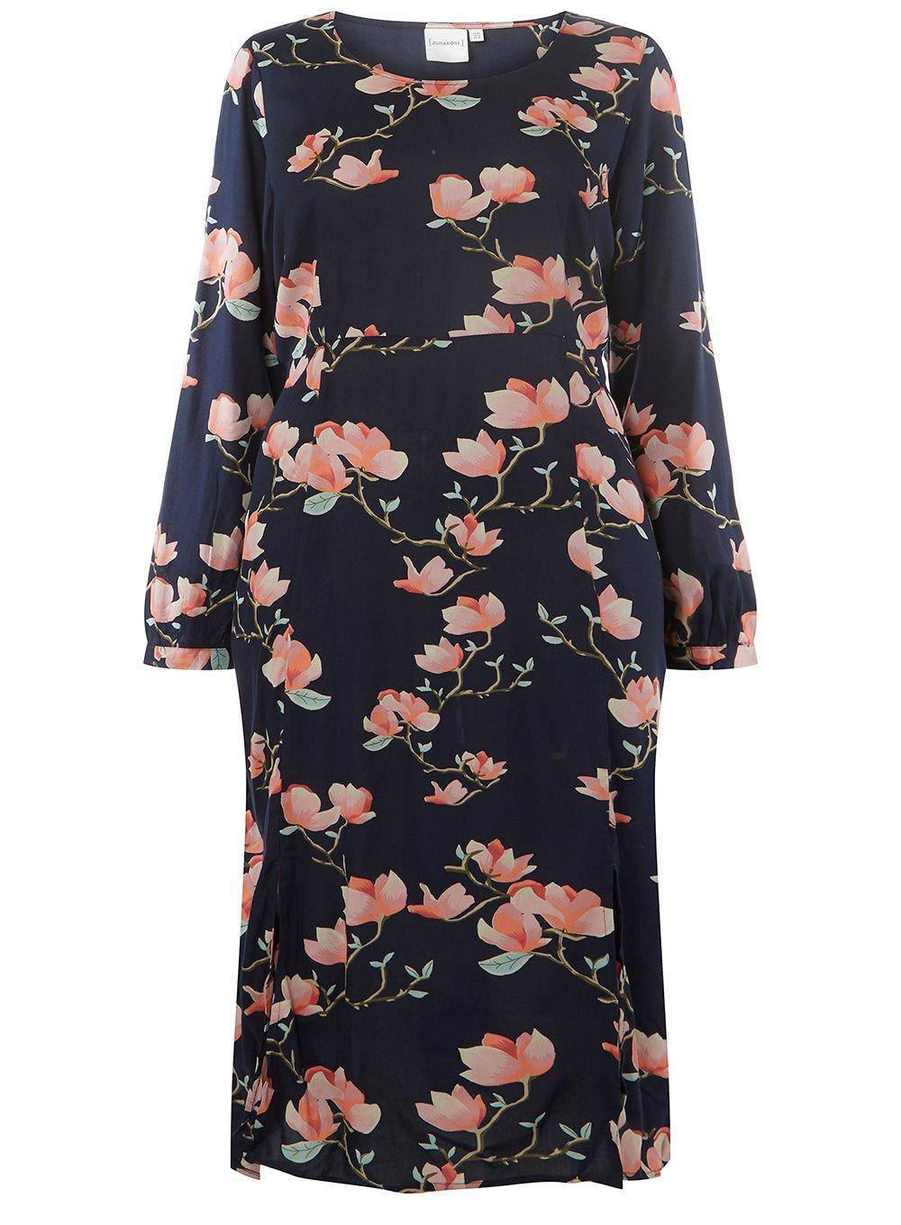 Buy Cheap Best Sale From China Cheap Online Dorothy Perkins Womens **Juna Rose Curve Navy Floral Midi Shift Dress- 9lODMsbgm