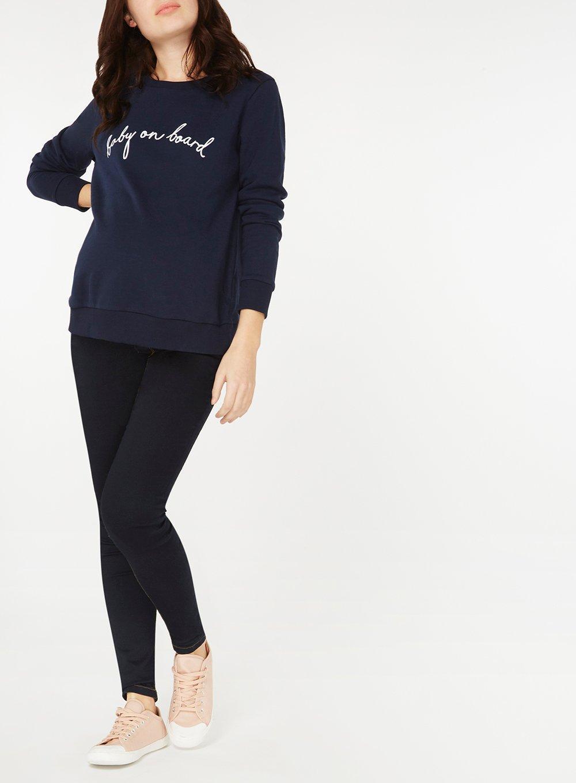 ef66cfa8b87e2 Dorothy Perkins Maternity Navy 'baby On Board' Slogan Sweatshirt in ...