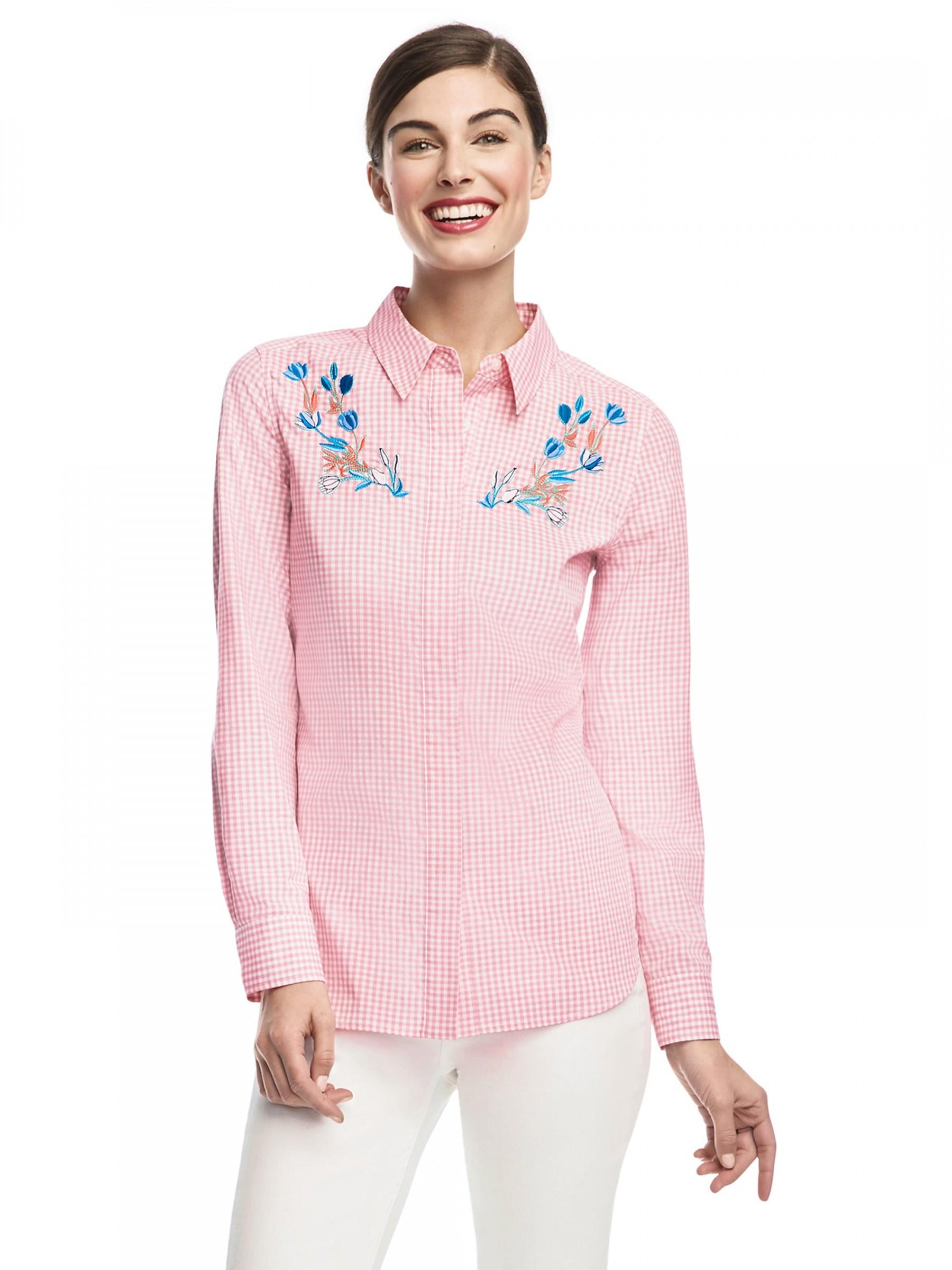 Draper james embroidered gingham button down in pink lyst for Pink gingham shirt ladies
