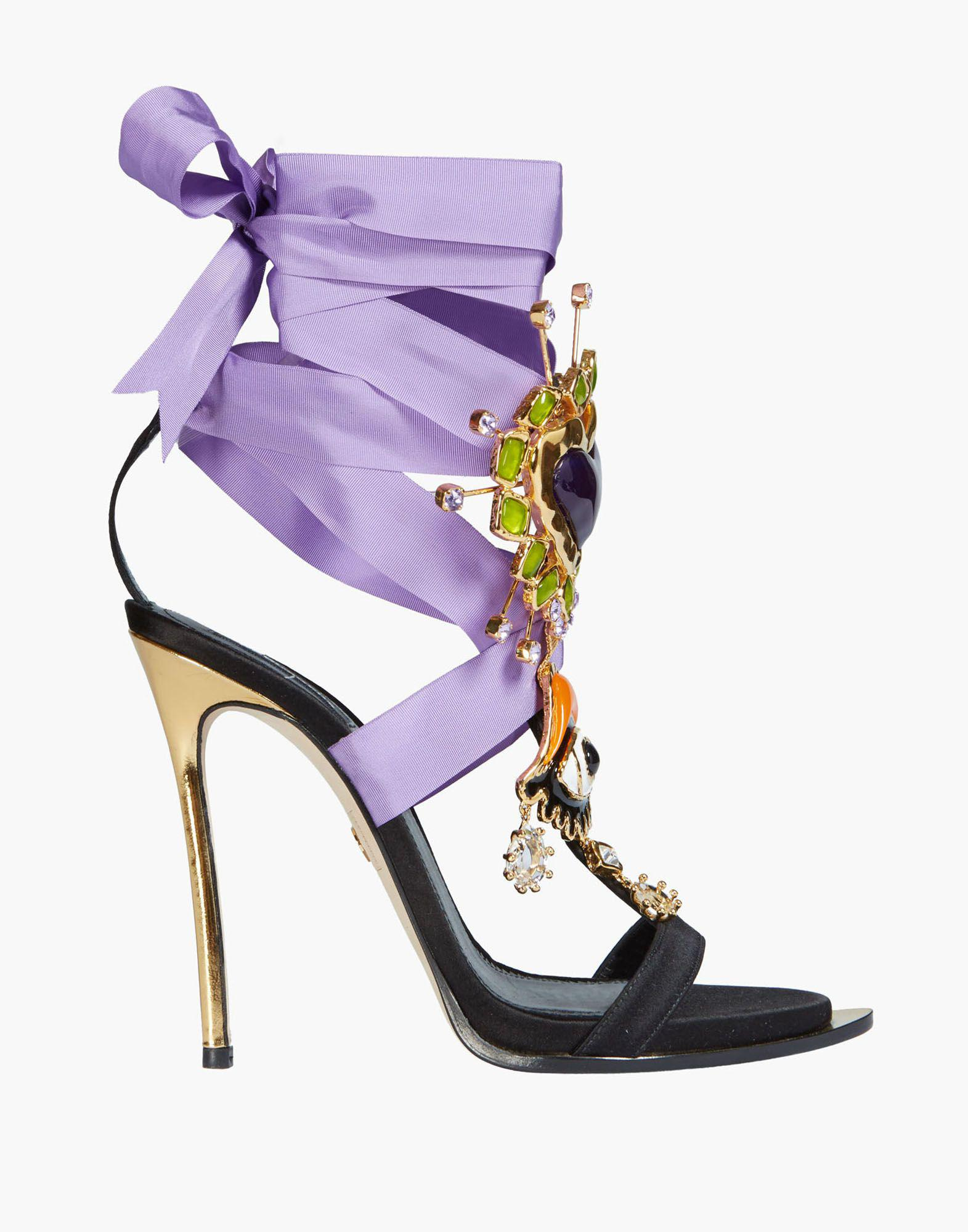 acde089db3f4 Lyst - DSquared² Lace-up Embellished Satin Sandal in Black