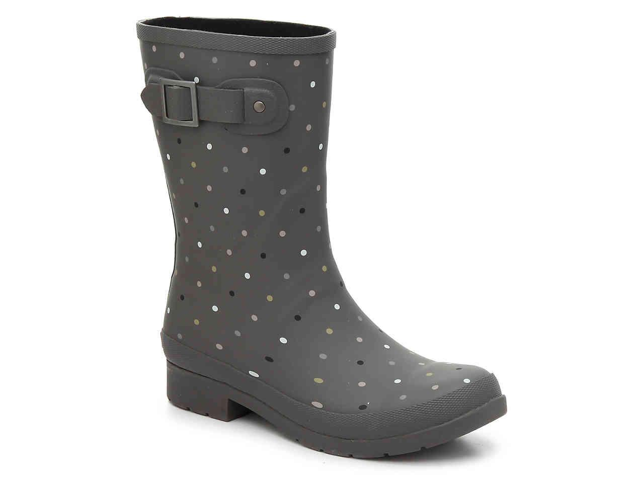 City Solid Tall Buckle Strap Rain Boots