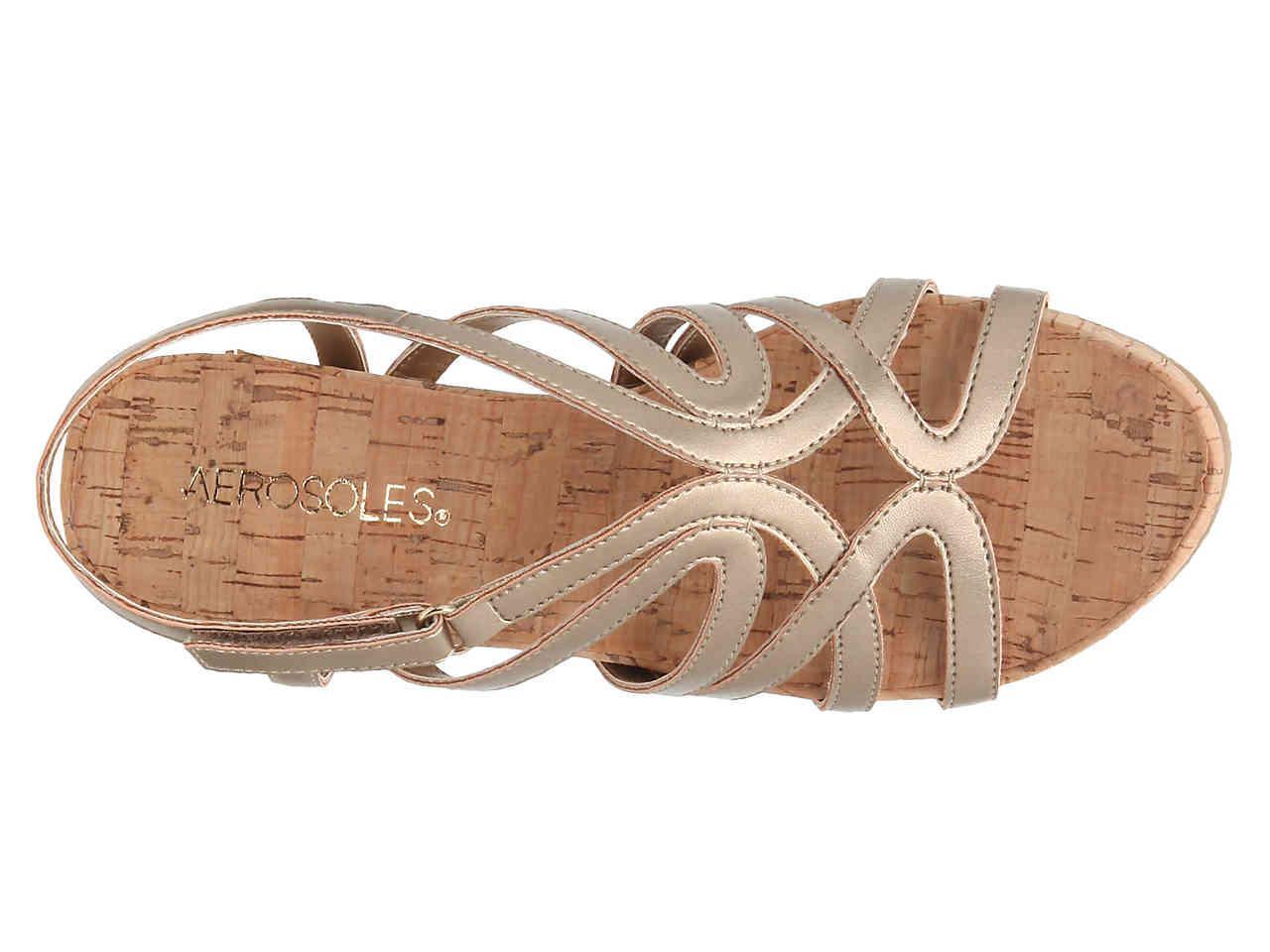 8fbf1649498 Aerosoles - Metallic Lux Plush Wedge Sandal - Lyst. View fullscreen
