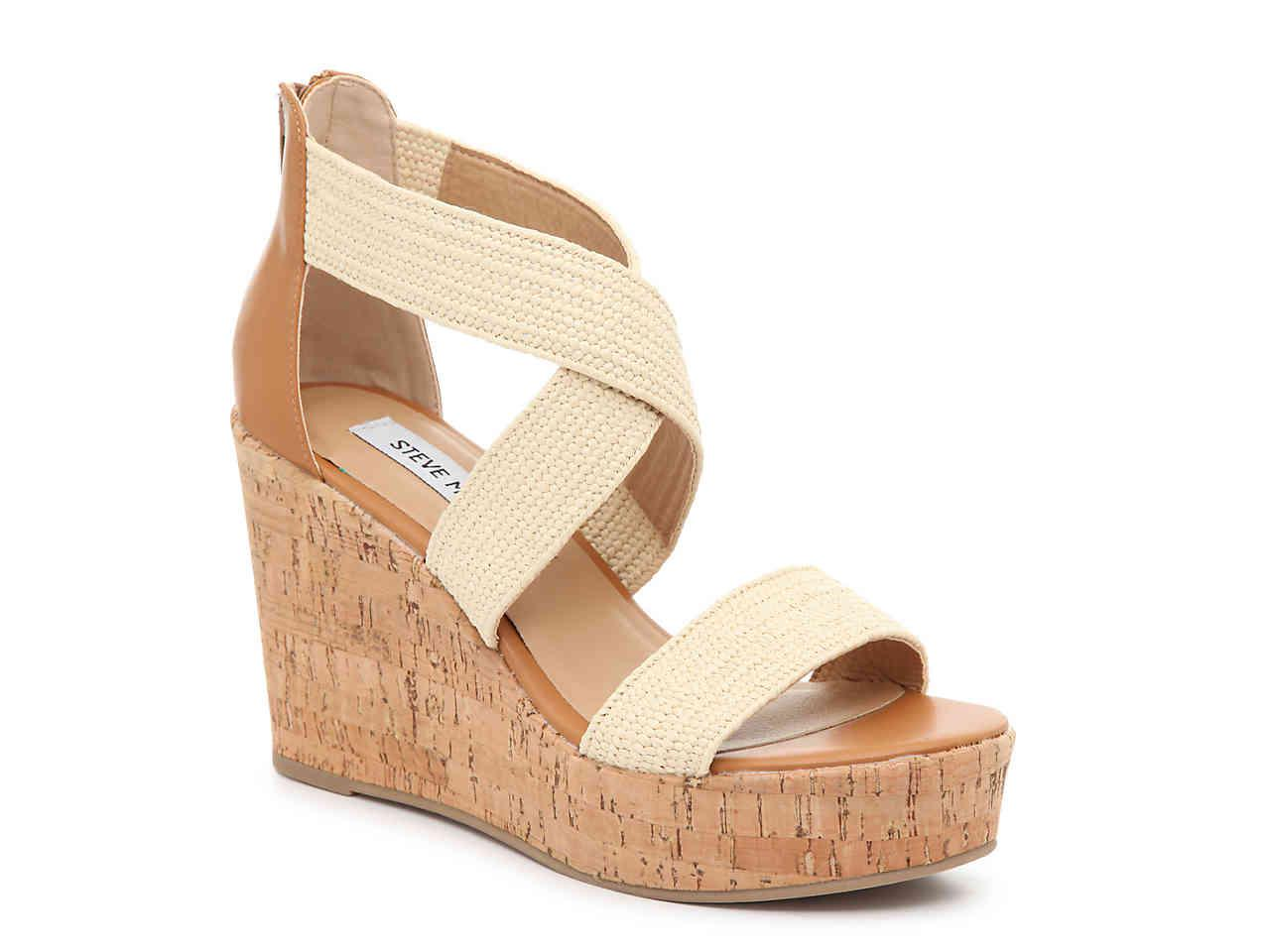 Lyst Steve Madden Elywn Wedge Sandal In Natural