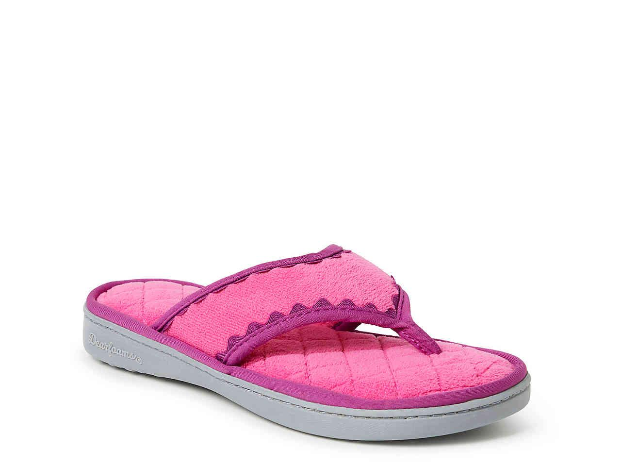 ac47bd37015 Lyst - Dearfoams Terry Thong Slipper in Pink