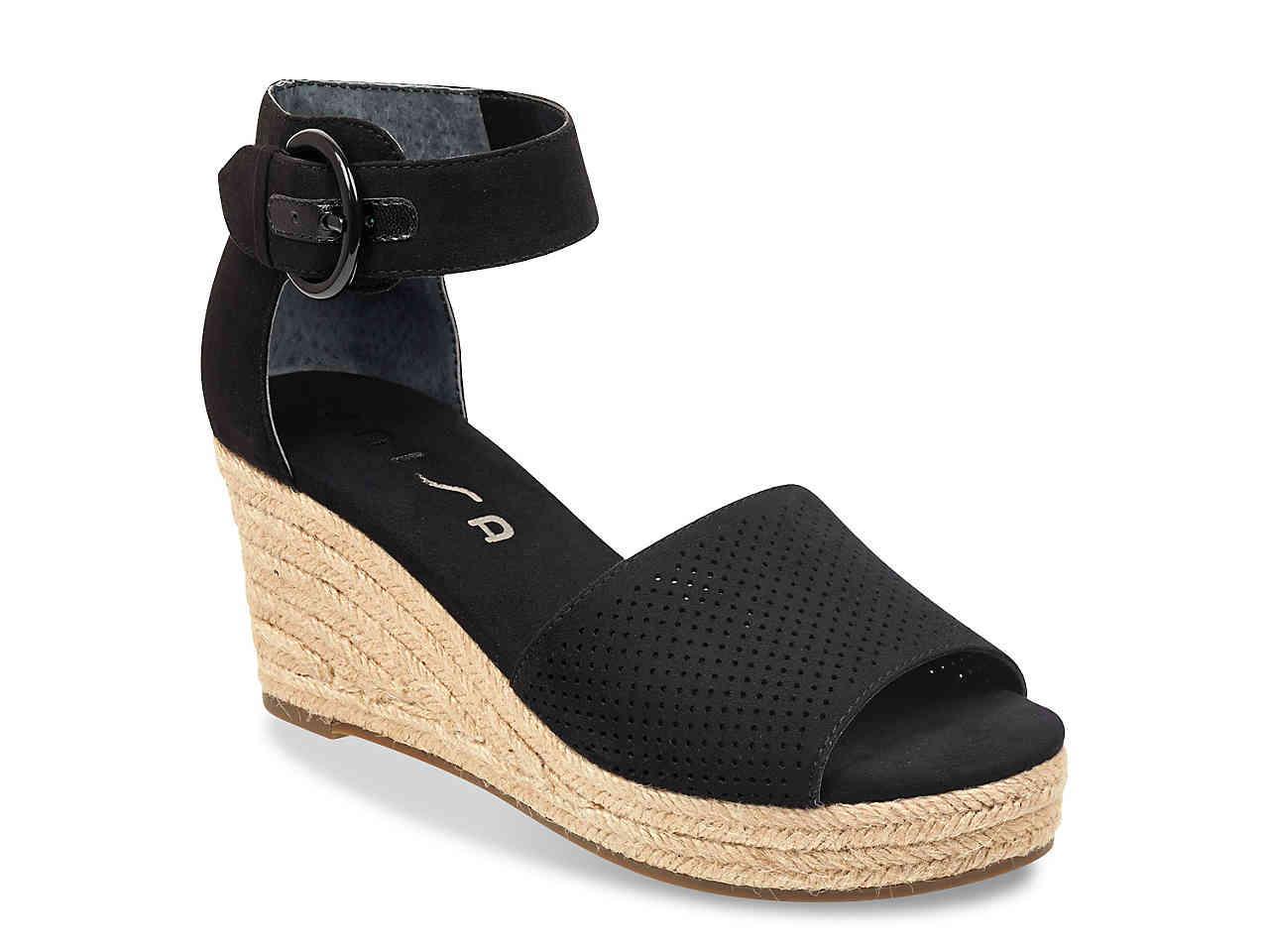 5fa6ff1f9566 Lyst - Unisa Hayzi Espadrille Wedge Sandal in Black