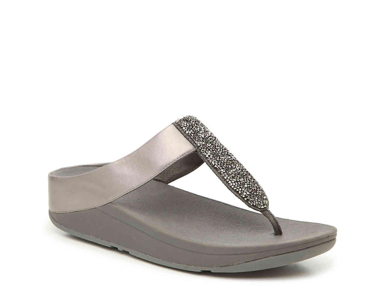 66edc8f30e0 Lyst - Fitflop Sparklie Crystal Wedge Sandal in Metallic