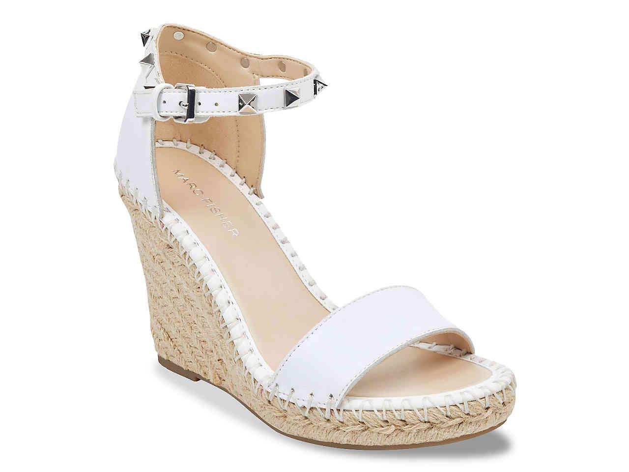 30dab91058b Lyst - Marc Fisher Kicker Wedge Sandal in White