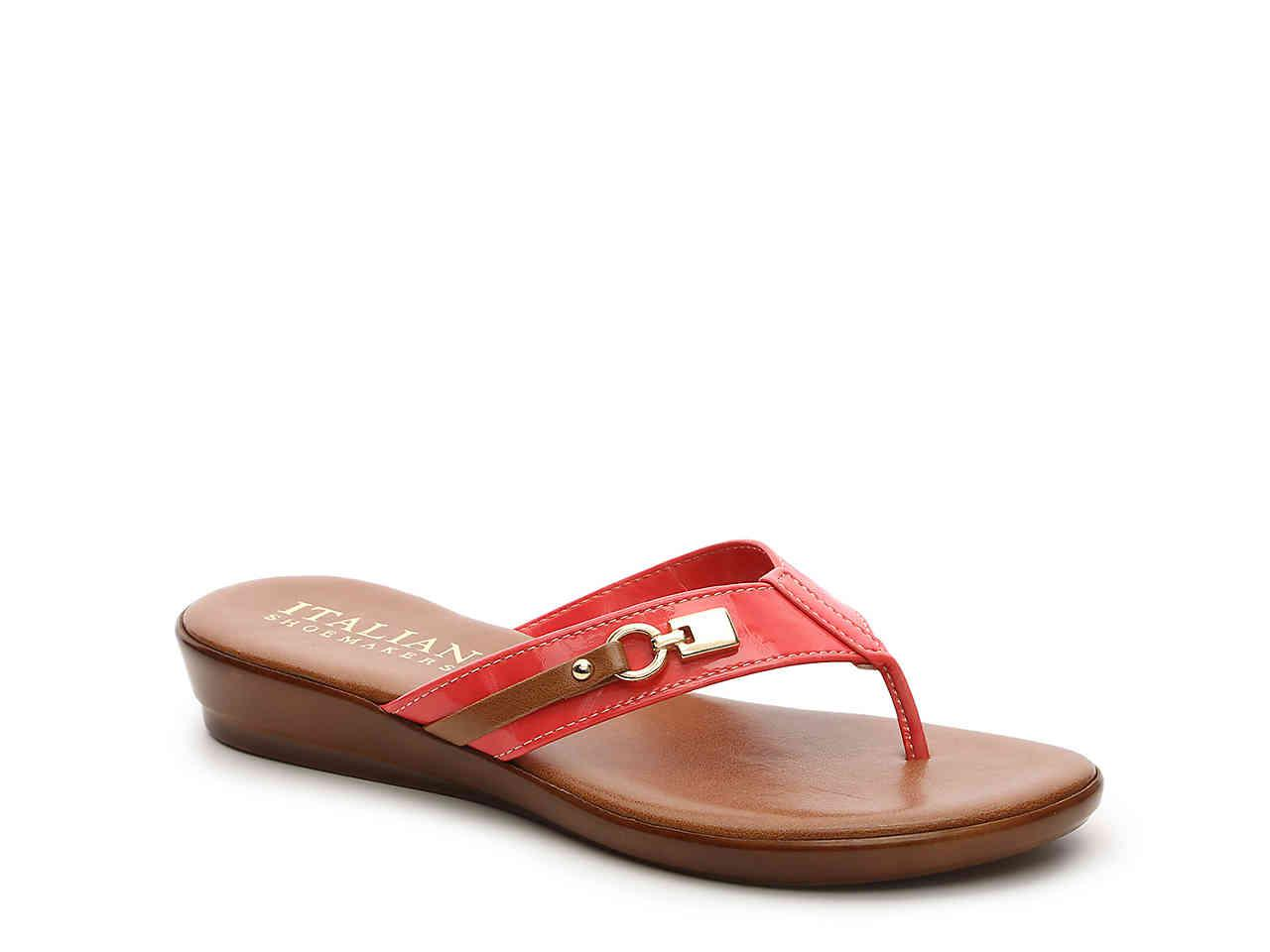 0a81553e3 Lyst - Italian Shoemakers Lock Wedge Sandal in Red