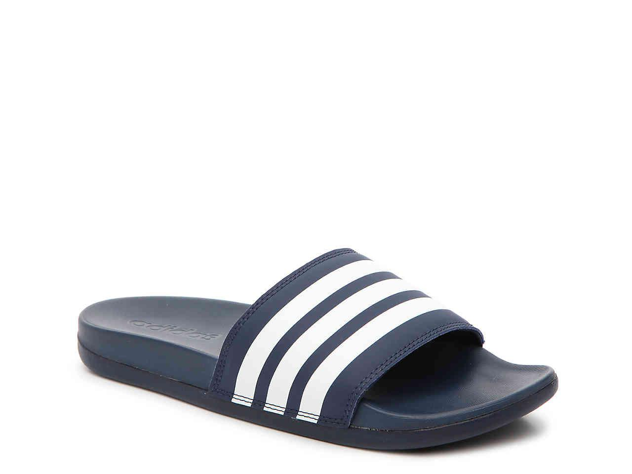pretty nice c52e9 c5e9e adidas. Womens Blue Adilette Cloudfoam Ultra Stripes Slide Sandal