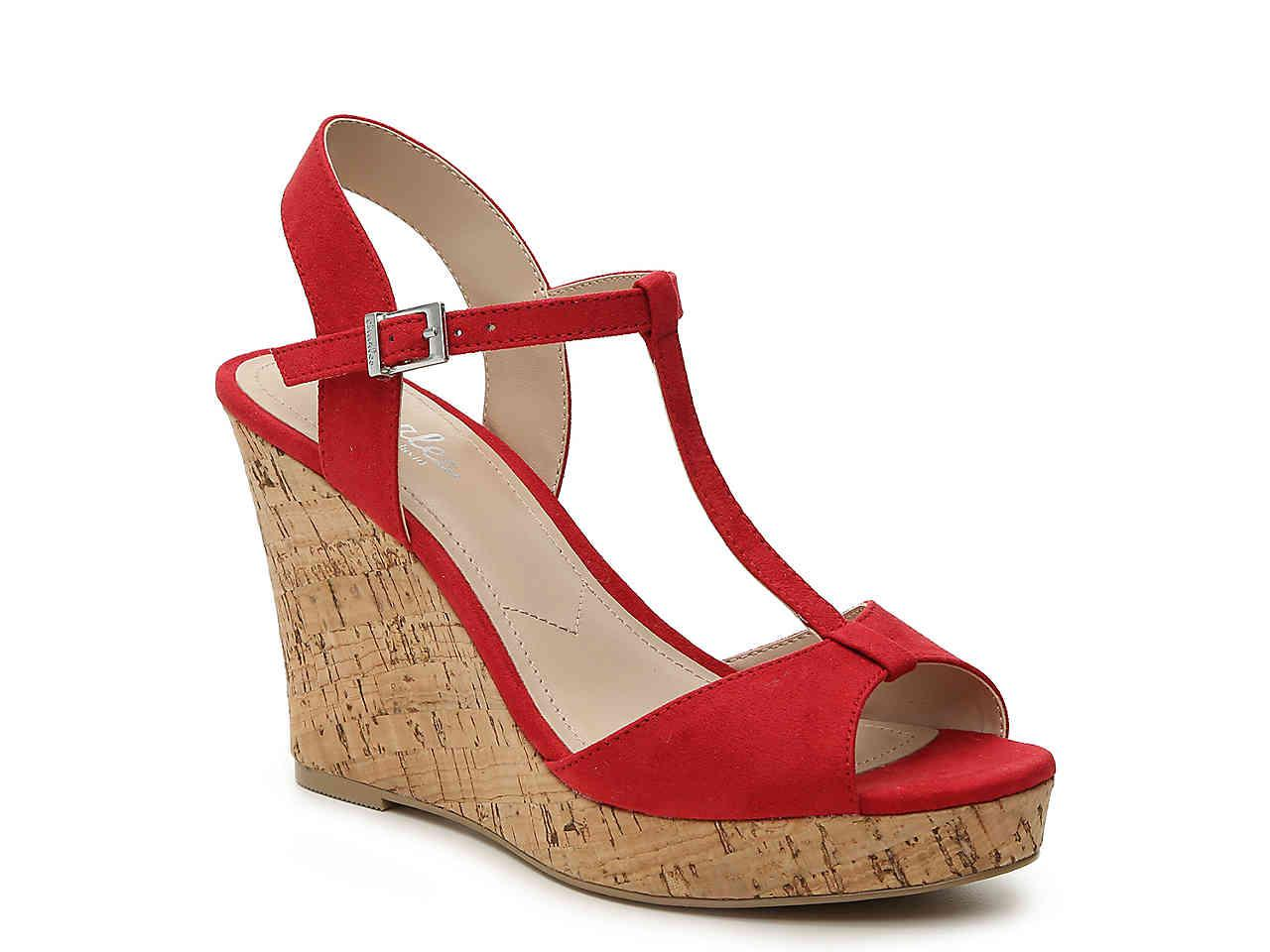 f413aef787bb Lyst - Charles David Lucas Wedge Sandal in Red