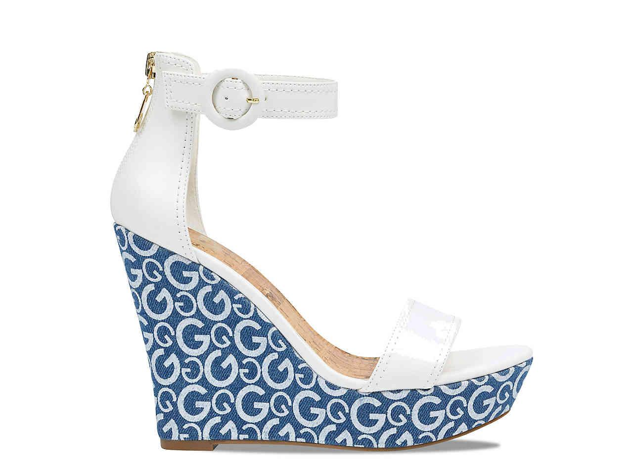 9b66a72aa Lyst - G by Guess Donny Wedge Sandal in Blue