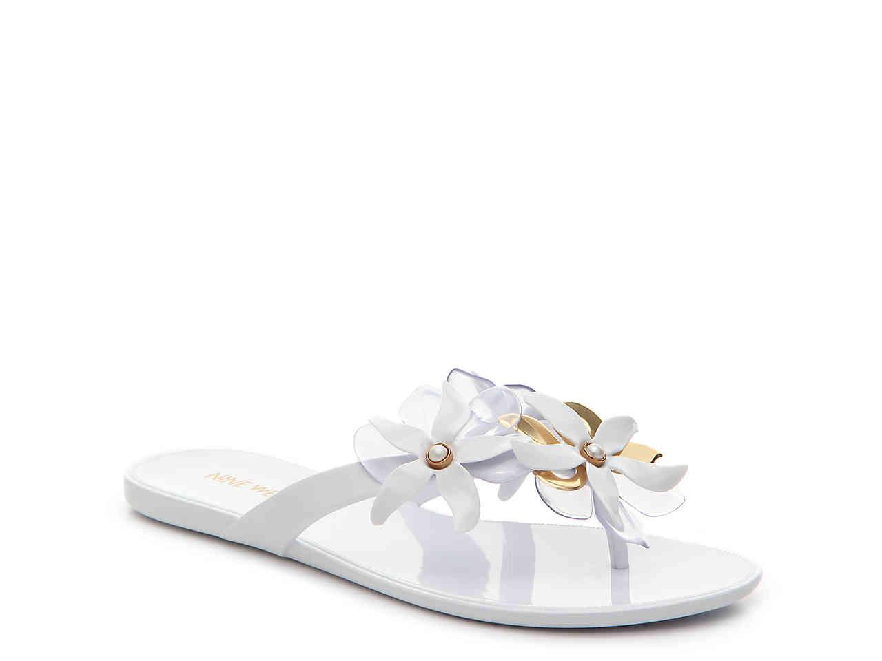 20154510e Lyst nine west mahogany jelly flat sandal in white jpg 1280x960 Nine west  flat sandals