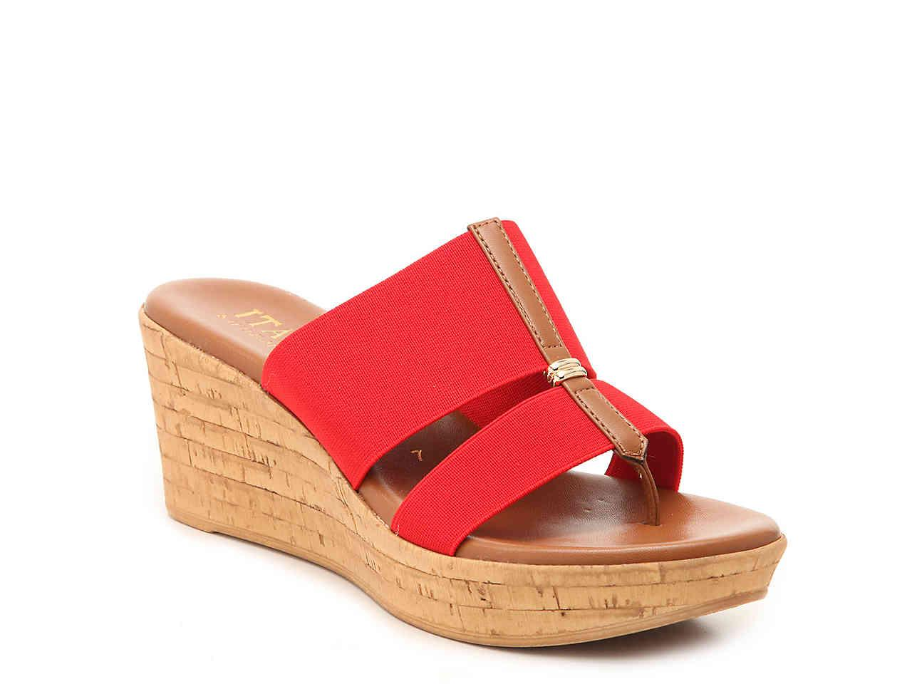 fb252ffe1e608 Lyst - Italian Shoemakers Nami Wedge Sandal in Red