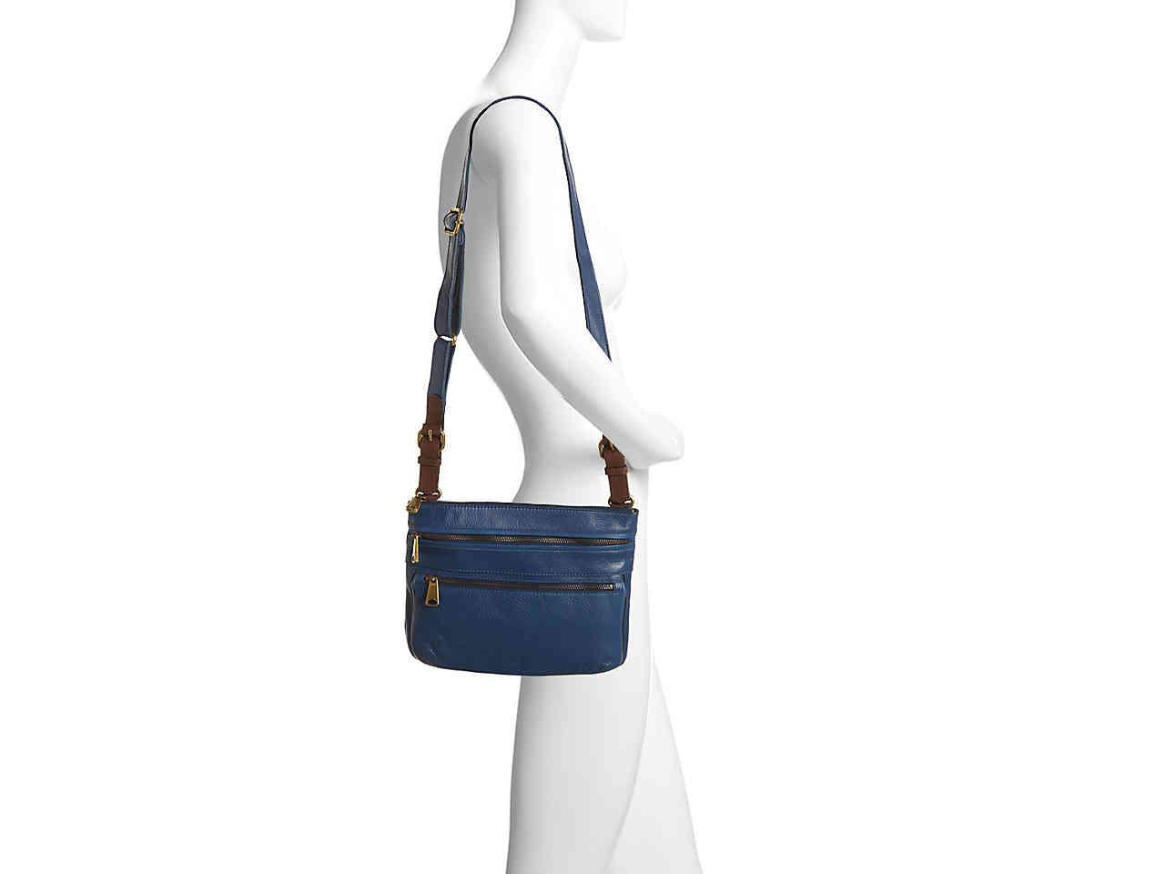 Lyst - Fossil Voyager Leather Crossbody Bag in Blue 1750f0efa4