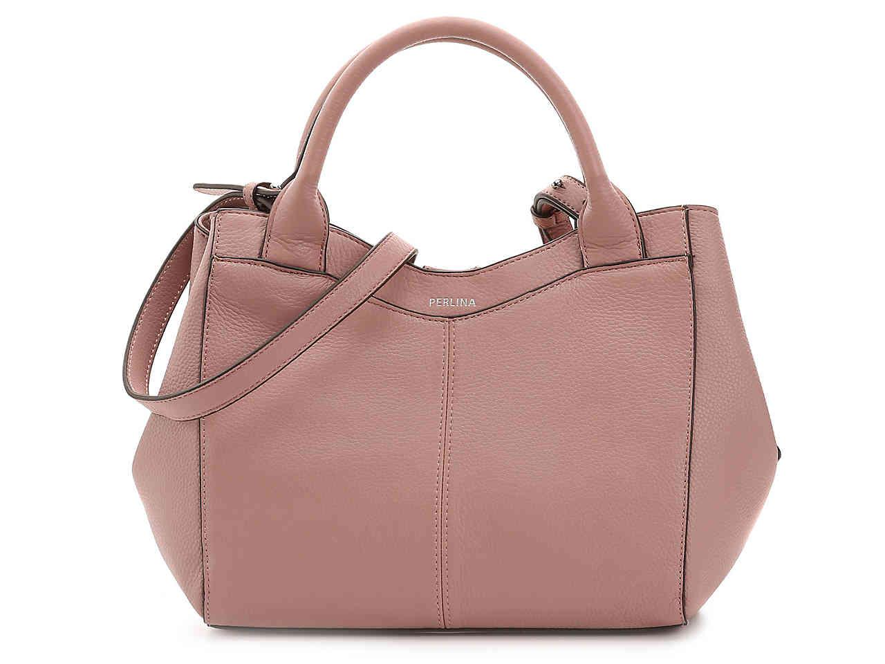 496ea184079f lyst perlina amelia leather satchel in purple Perlina Handbags New York at Perlina  Purses Handbags