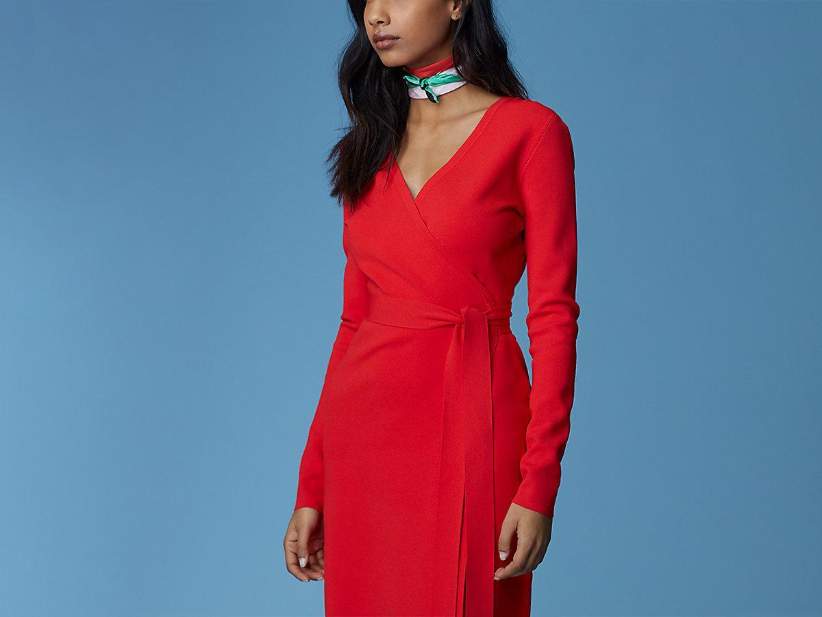 Lyst - Diane von Furstenberg Long-sleeve V-neck Knit Wrap Dress in Red 4d963af58
