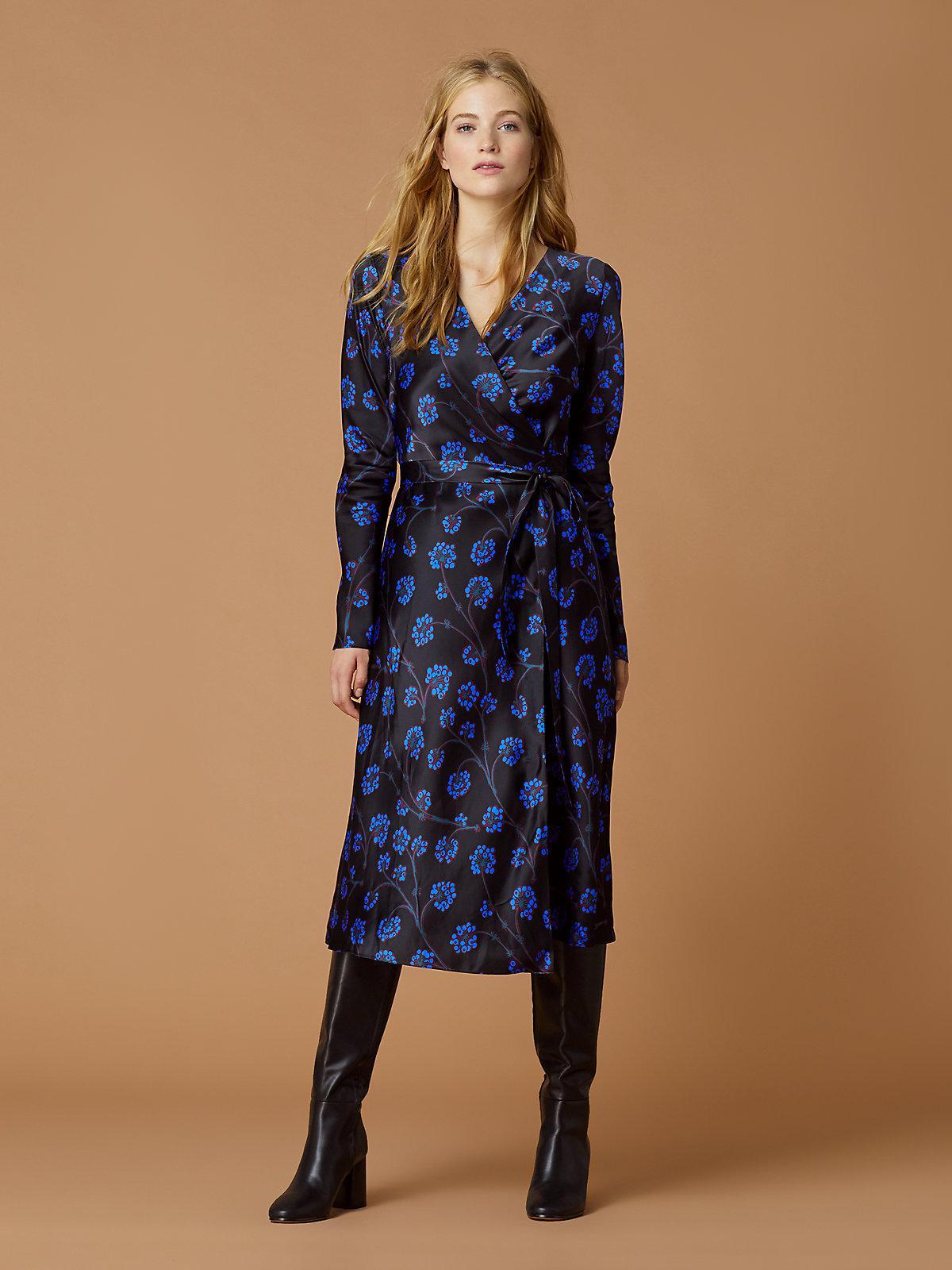 33baca928fbd9 Lyst - Diane von Furstenberg Tilly Satin Wrap Dress in Blue