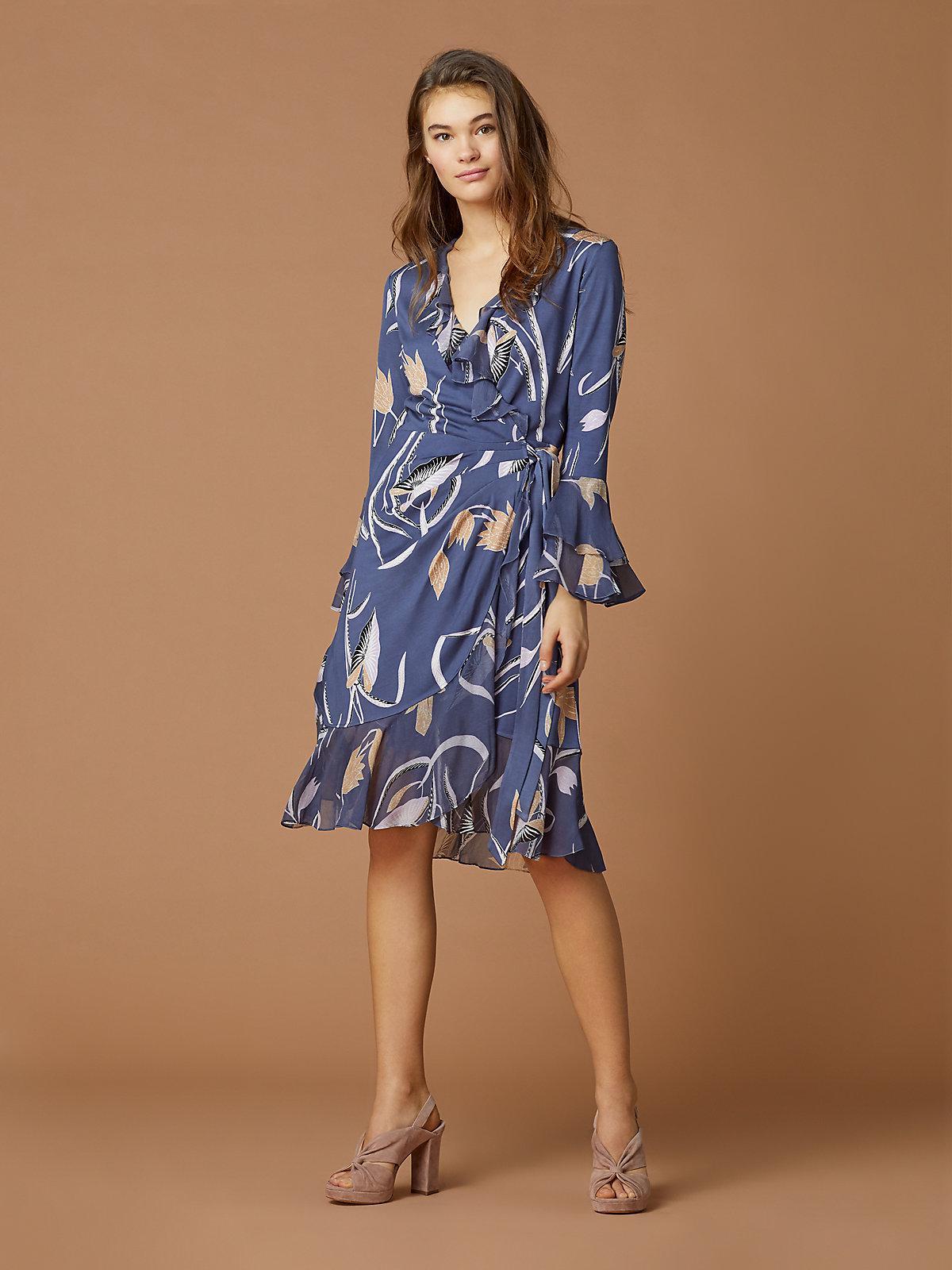 a3302adad07e Diane von Furstenberg Carli Wrap Dress in Blue - Lyst