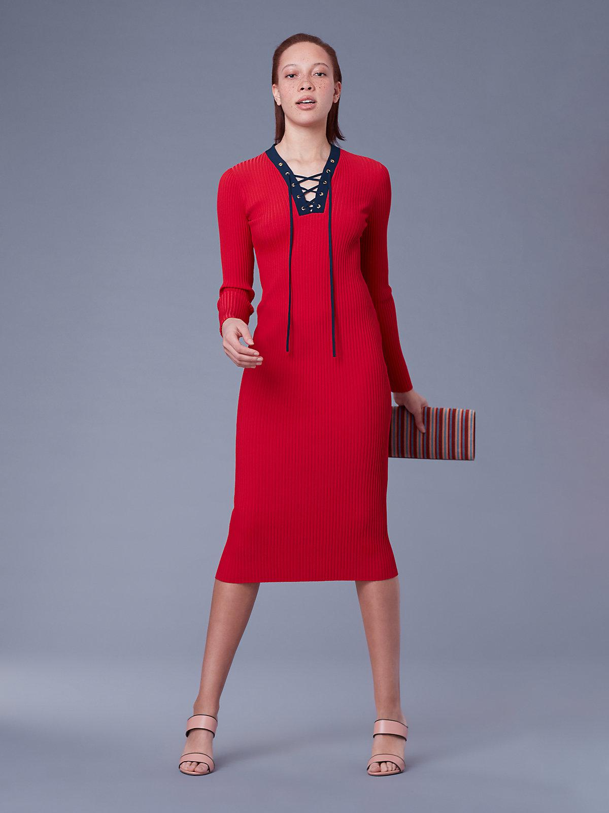 7385872a54f33 Diane von Furstenberg Long-sleeve Lace Up Sweater Dress in Red ...