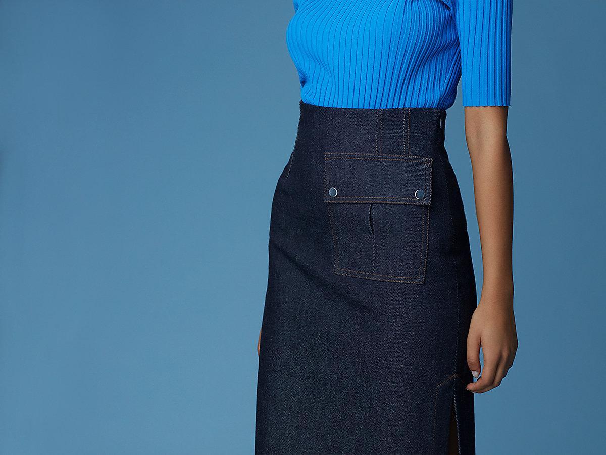019e240a6 Diane von Furstenberg Side Slit Pencil Skirt in Blue - Lyst